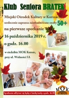 Klub Seniora Bratek zaprasza zainteresowane osoby 50+ na pierwsze spotkanie